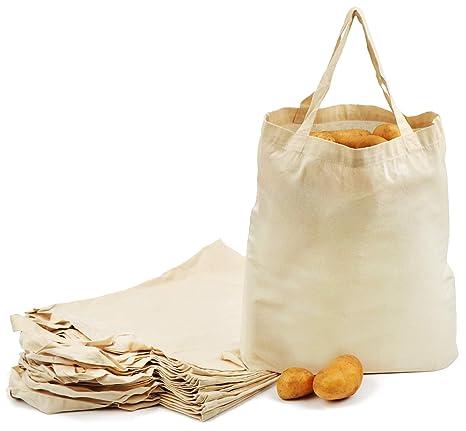 com-four® 12x Bolsa de algodón - Bolsa de Compra Reutilizable - sin impresión, Ideal para Pintar - Oeko-Tex® Standard 100 (12 Piezas - 38x42cm - asa ...