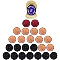 Family Cart Carom Board Coins Wooden Solid Set and Blue Tournament Striker with Fancy Case ( 24 Carrom Board Pieces with…