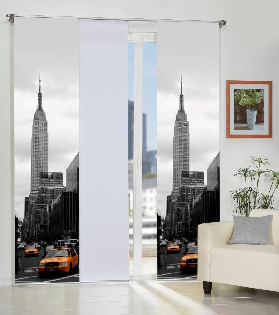 Home Fashion 3er-Set Flächenvorhänge MANHATTAN, Deko-Stoff blickdicht, inkl. hochwertigem Zubehör