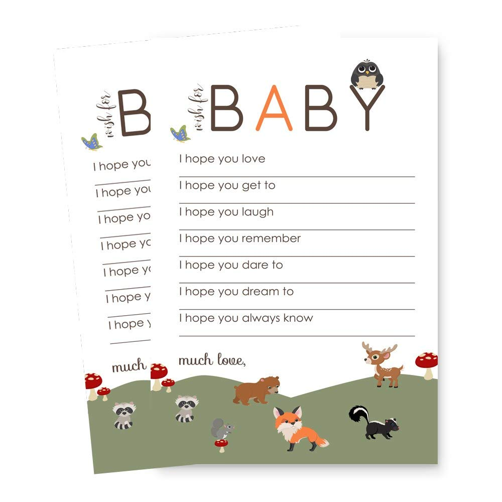 Woodland Wishes for Baby Shower Game Card Set of 20 Paper Clever Party