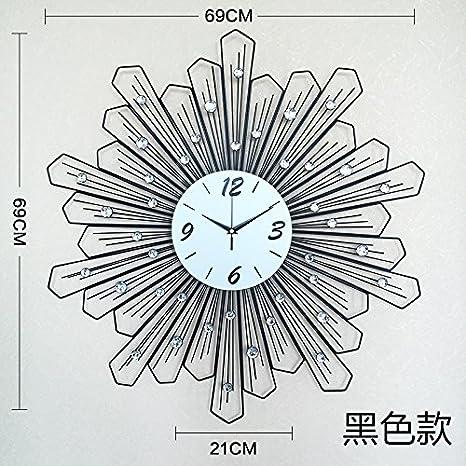 OLILEIO El Salón relojes decorativos reloj reloj moderno minimalista reloj reloj de cuarzo silencio Crystal Love 26 pulgadas 69*69cm,negro: Amazon.es: Hogar