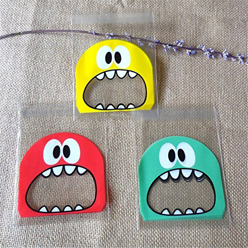 Wootkey Candy Bags 300 pcs 4'' Big Mouth Monster Self Adhesive OPP Cookie Bakery Decorating bags Biscuit Roasting Treat Gift DIY Plastic Bag by Wootkey (Image #6)