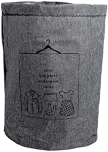 NSYNSY Large Cotton Fabric Folding Laundry Hamper Bucket Cylindric Burlap Canvas with Handle Storage Basket Suitable for Bedroom Bathroom,1