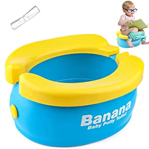 Travel Potty, Tinabless Portable Folding Reusable Banana Travel Toilet Potty Training Seat for Toddlers with 20 Potty Liners Disposable