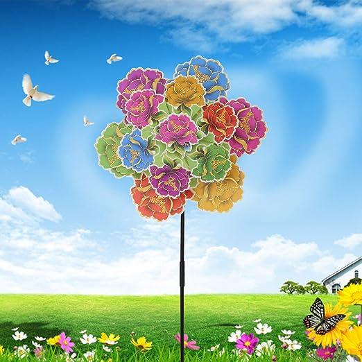 Yifeicx Tres Capa De Flores Wind Spinner Windmill Juguetes Jardin Decoracion Viento Rueda Pinwheel Floral Colorido Niños Niños Juguete Regalos Jugar Juegos De Fuentes Al Aire Libre: Amazon.es: Jardín