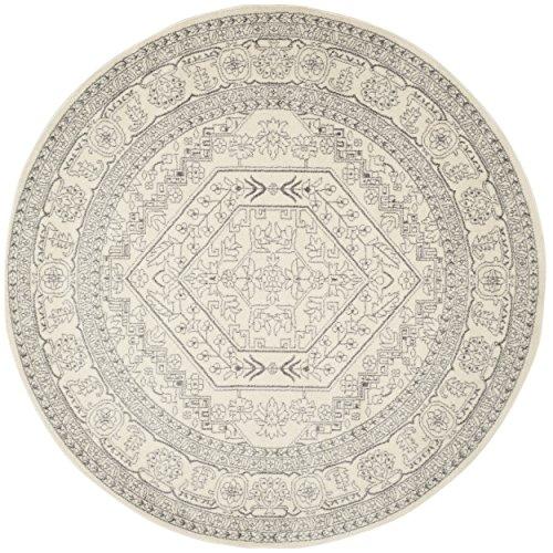 Safavieh Adirondack Collection ADR108B Ivory and Silver Oriental Vintage Medallion Round Area Rug (9' ()