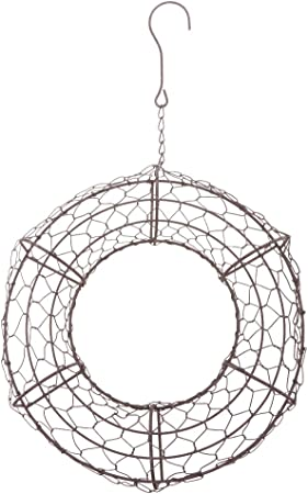 Rustic Romantic Iron Ring Frame Wire Wreath Succulent Pot Hanging Pot 26cm