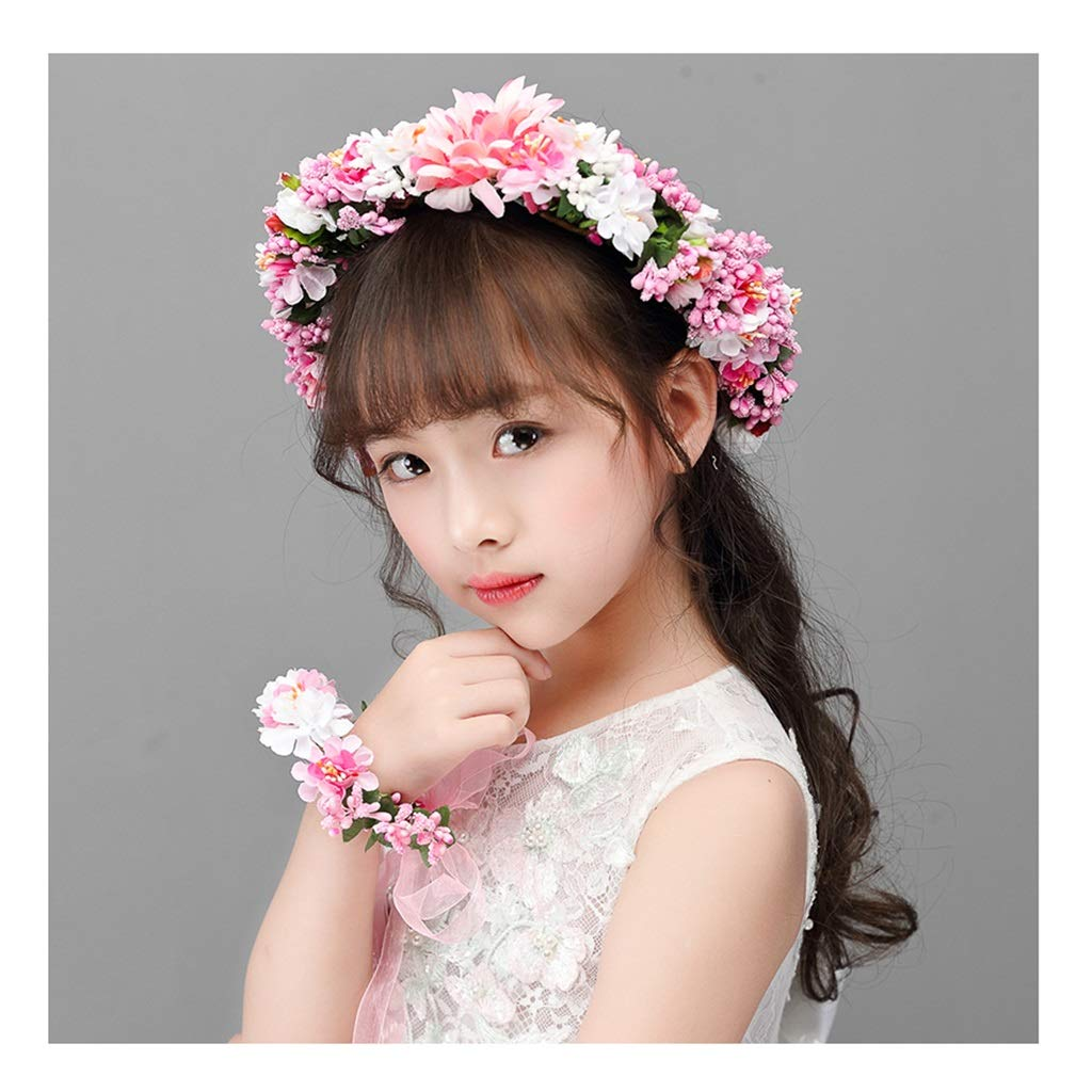 Wreath Flower Girls Hair Accessories Headwear Hairband Korean Wrist Flower Set Princess Performance Dress Accessories