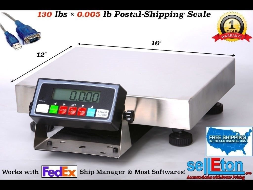 Selleton Fed Ex Shipping Scale / Postal Scale 130 Lbs X .005 Lb With Usb Cable