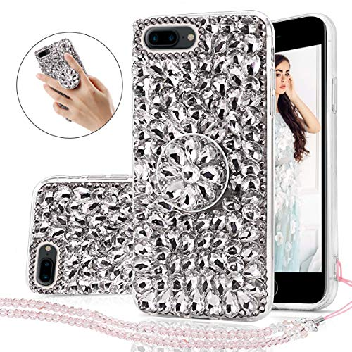 iPhone 7 Plus Case, 3D Handmade Shining Crystal Rhinestone Bling Glitter Sparkle Hard Back Case with 360 Degree Ring Holder Bracket Shockproof Protective Case for iPhone 7 Plus/iPhone 8 Plus Sliver ()