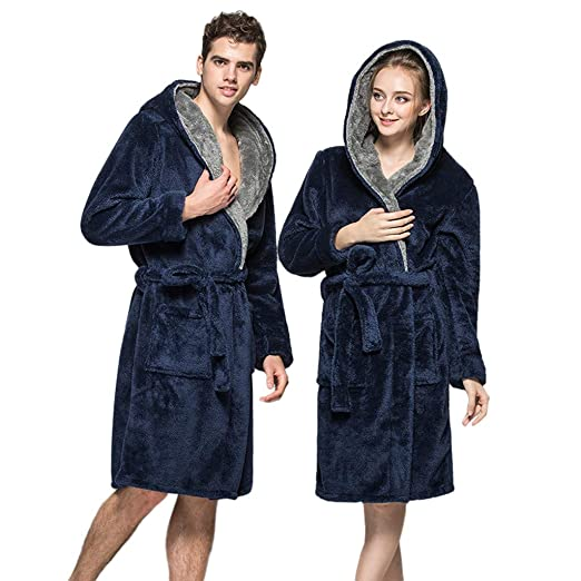 d8bc1b29c3 Mens Womens Full Length Hooded Plush Soft Warm Fleece Bathrobe Long Shawl  Collar Kimono Robes at Amazon Women s Clothing store