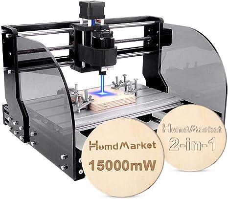 2 en 1】CNC DIY 3018 Pro Max GRBL Control DIY Mini Machine, Fresadora de PCB de 3 ejes, Enrutador de madera Grabador con controlador fuera de línea Área de trabajo (15W): Amazon.es: