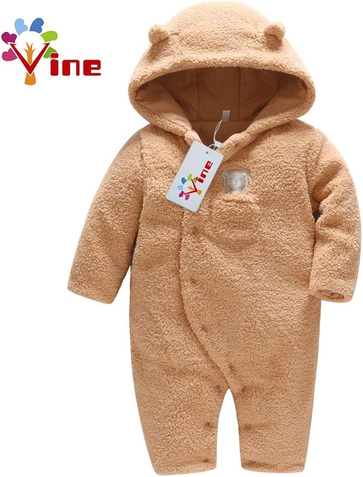 Vine B/éb/é Combinaison De Neige Manteau /à Capuche Hiver FOOTED Combinaisons Fleece Barboteuse Marron 3-6 Mois