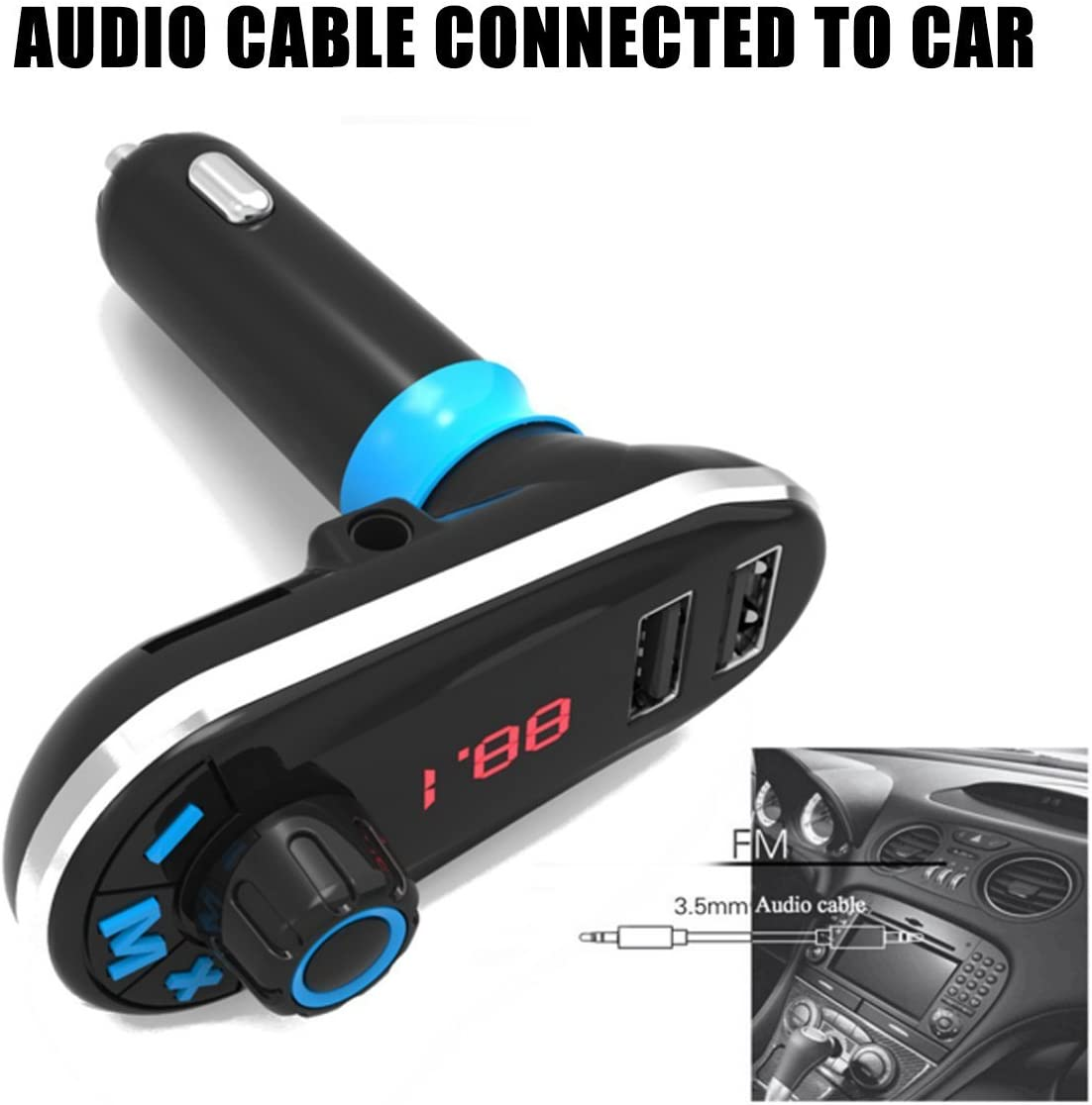 MATCC FM Transmitter Car Bluetooth MP3 Player FM Radio Stereo Adapter,Bluetooth Receiver with Bluetooth Handsfree Calling and Dual USB Port