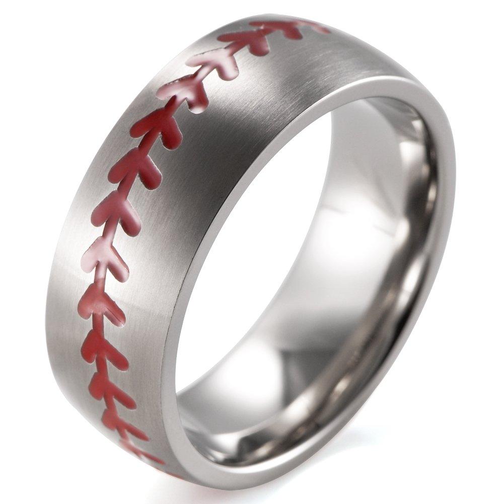 SHARDON Men's 8mm Domed Brushed Titanium Ring with Red Engraved Baseball Pattern Size 9.5 by SHARDON (Image #1)