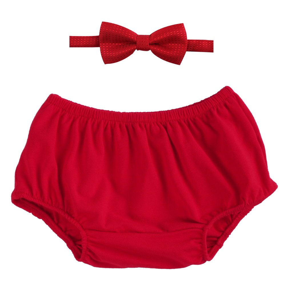 Newborn Baby Boys 1st/2nd Birthday Cake Smash Outfits Short Bloomers Pants Bow-Tie 2PCS Set Photo Props