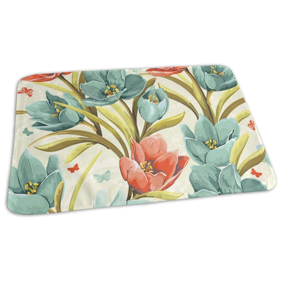 Osvbs Lovely Baby Reusable Waterproof Portable Beautiful Floral Background with Crocuses Changing Pad Home Travel 27.5''x19.7'' by Osvbs