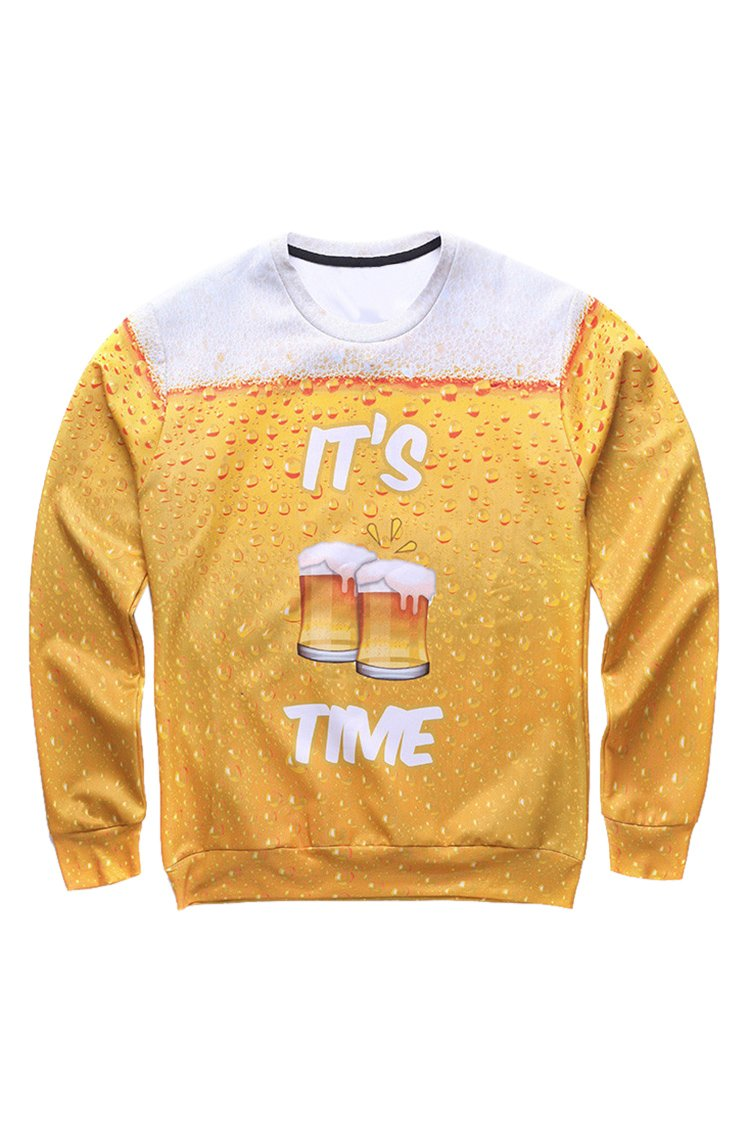 Cutiefox Womens Round Neck 3D Beer Print Long Sleeve Pullover Hoodie Yellow L