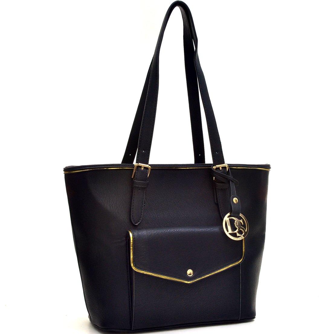 Dasein Women 's Large Zip Top多機能バックルトートバッグショルダーバッグ財布ハンドバッグ B07BHLV8KF 6786-black 6786black