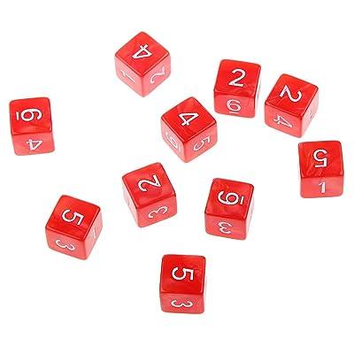 10pcs Juegos de Mesa Dados de Seis Caras D & D TRPG - Rojo: Juguetes y juegos