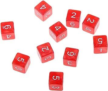 Desconocido 10pcs Juegos de Mesa Dados de Seis Caras D & D TRPG - Rojo: Amazon.es: Juguetes y juegos