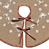 "Awtlife Christmas Tree Skirt 48"" Round Snowflake Santa Claus Christmas Holiday Burlap Tree Skirt, Red and Green Plaid"