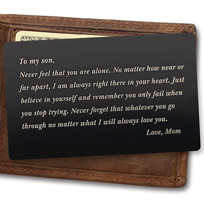 Engraved Wallet Card for Son Metal Wallet Card Gift for Son College Graduation Gift from Mom  sc 1 st  Amazon.com & Amazon.com: Engraved Wallet Card for Son Metal Wallet Card Gift for ...