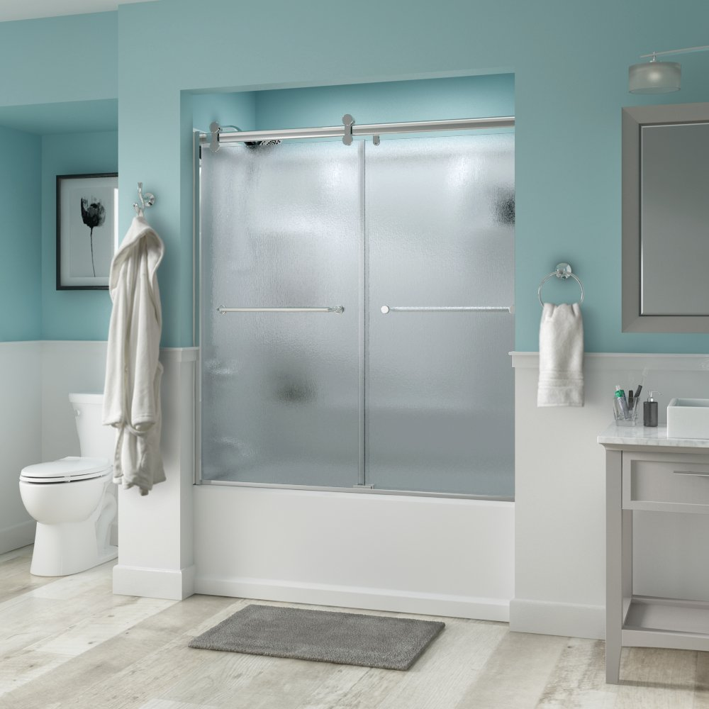 Delta Shower Doors SD3276696 Linden 60'' Semi-Frameless Contemporary Sliding Bathtub Door in Chrome with Rain Glass