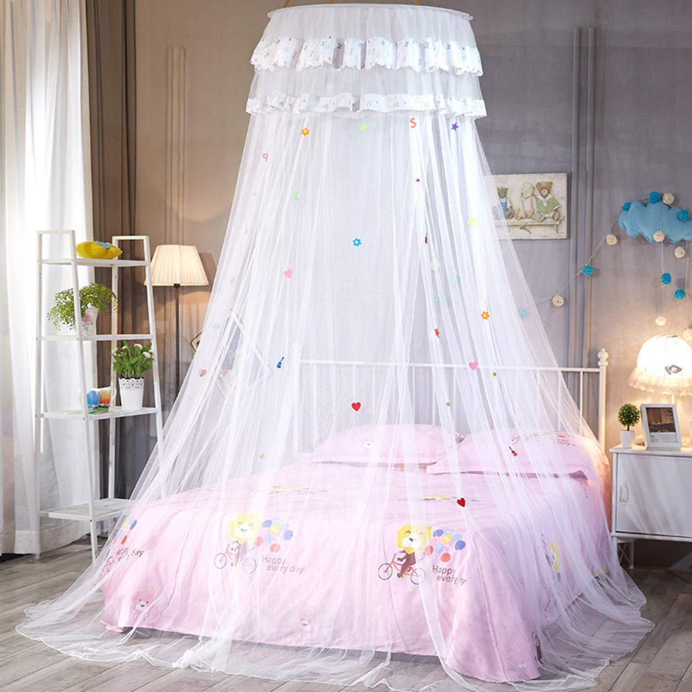 KE & LE Children's Mosquito Net, Easy to Install Encryption Crib Baby Dome Mosquito Tent Hanging Mosquito Net Tent Mesh Canopy Curtains with Bottom-a