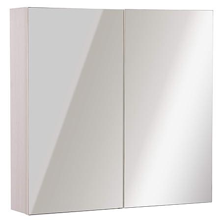 Badschrank Spiegel Spiegelschrank Wandschrank Badhängeschrank Weißeiche
