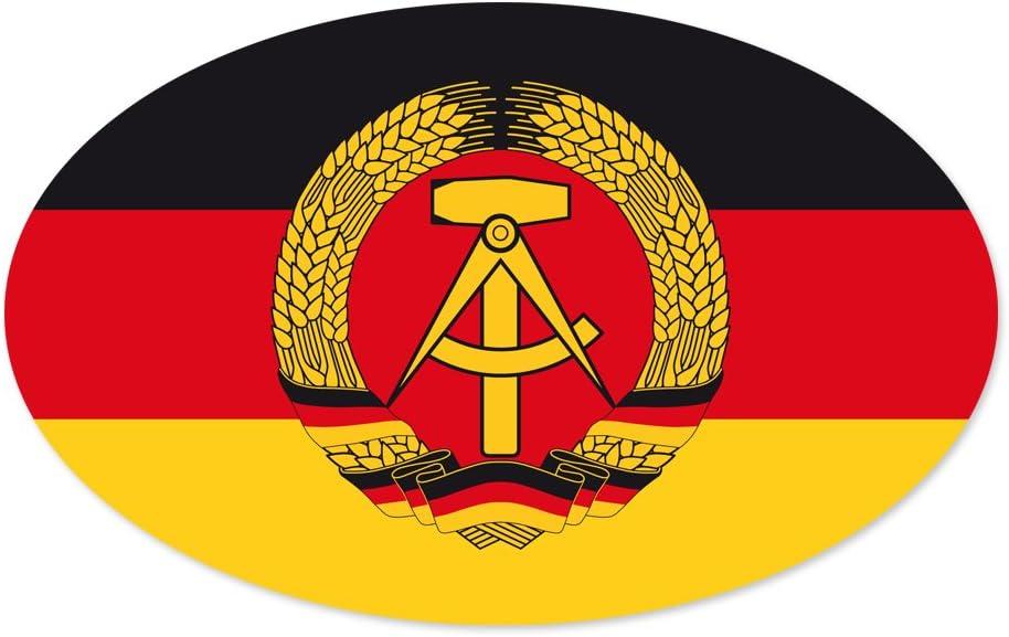 Autoaufkleber Aufkleber Sticker Ddr Schwarz Rot Gold Mit Ddr Emblem Hammer Zirkel Und Ährenkranz 170 X 105 Mm Oval Bürobedarf Schreibwaren