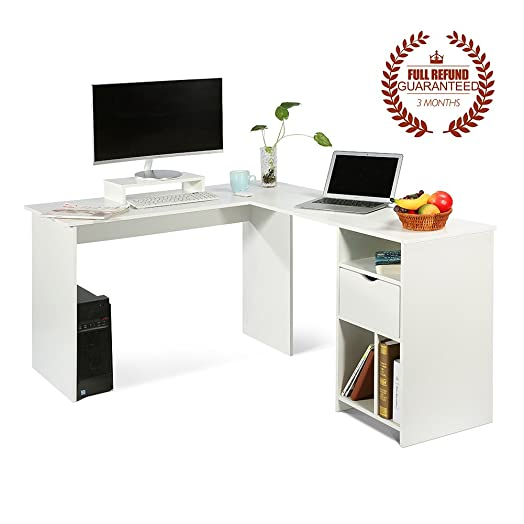 lshaped office computer desk large corner pc table with monitor stand white