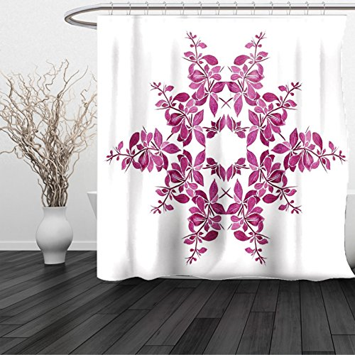 Kansas Printed Curtain Panels (HAIXIA Shower Curtain Purple Autumn Vine Bridal Flower Bouquet Vintage Style Circle of Leaves Laurel Wreath Violet White)
