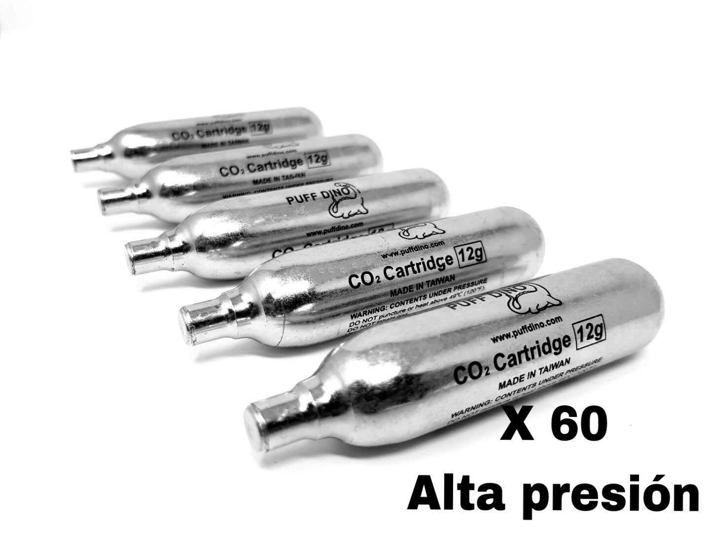 PUFF DINO CO2 Bombona 12gramo Primera Marca X 60 Co2 Bombonas De Alta Presion Especial para Airsoft Envio Urgente
