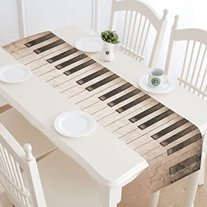 Astounding Amazon Com Interestprint Piano Key Grunge Table Runner Home Alphanode Cool Chair Designs And Ideas Alphanodeonline