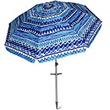 AMMSUN 7 ft Sand Anchor Beach Umbrella Adjustable Height with Zinc Tilt Twist-in System UPF 50+ Silver Coating Inside and Telescoping Pole/Blue