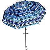 AMMSUN 7 ft Sand Anchor Beach Umbrella Adjustable Height Zinc Tilt Twist-in System UPF 50+ Silver Coating Inside Telescoping Pole/Blue
