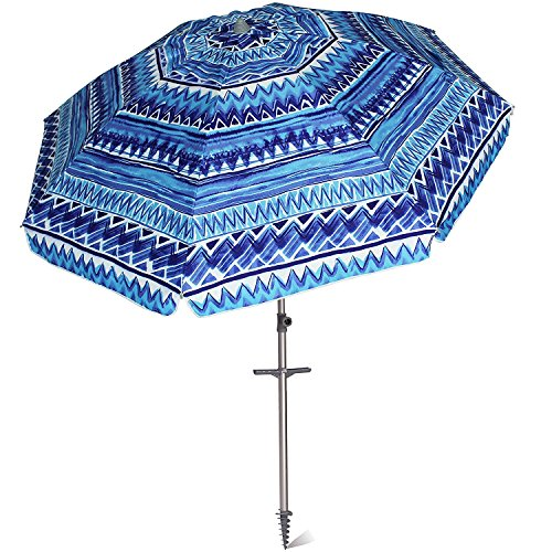 AMMSUN 7 ft Sand Anchor Beach Umbrella Adjustable Height with Zinc Tilt Twist-in System UPF 50+ Silver Coating Inside and Telescoping Pole/Blue (Umbrella Tilt Head)