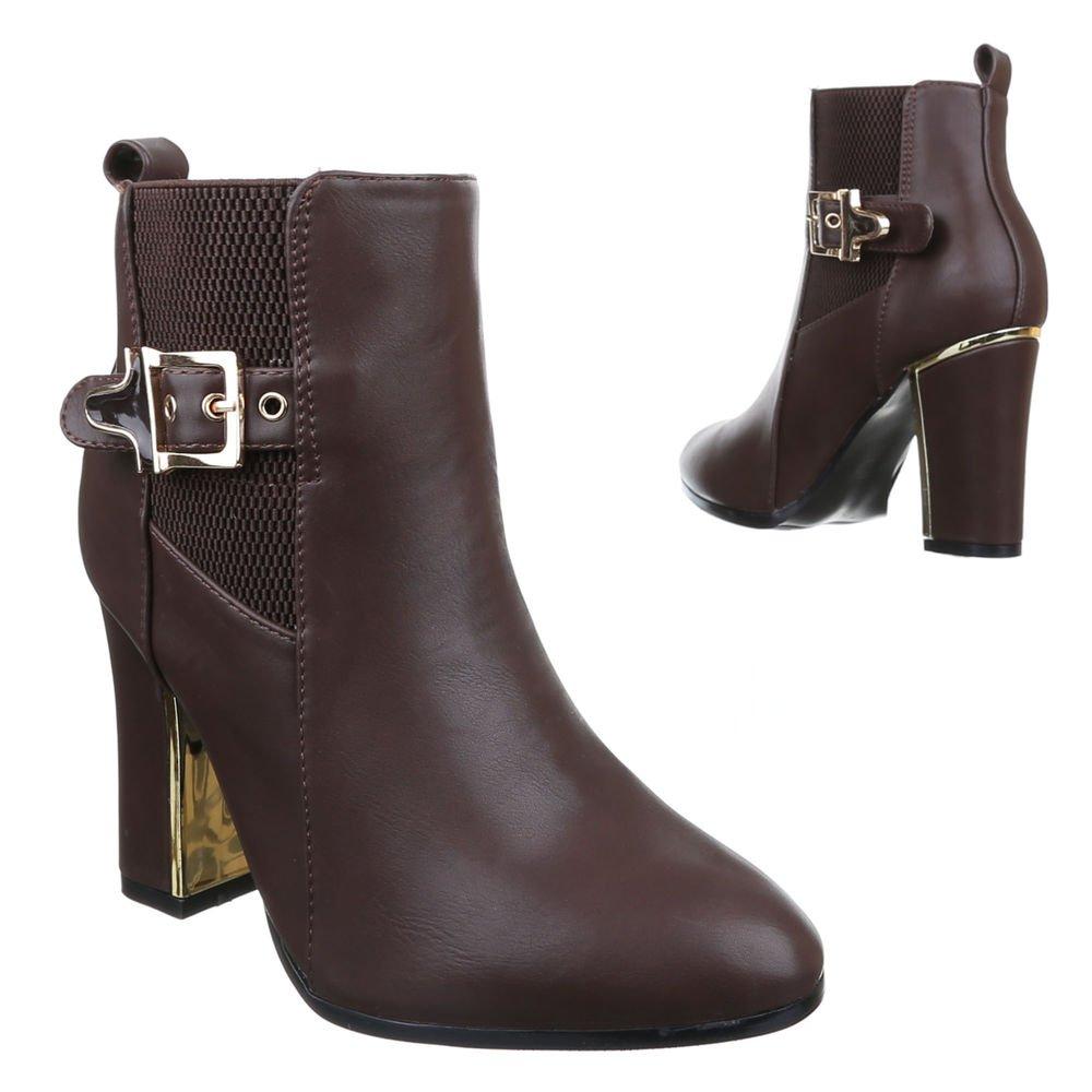 Ital-Design High Heel Stiefeletten Damenschuhe Schlupfstiefel Pump Moderne Reißverschluss Stiefeletten  40 EU|Braun WL-82