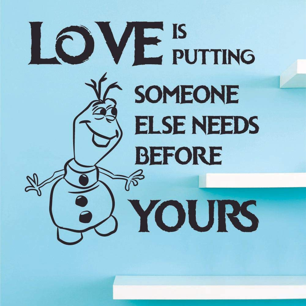 Love Olaf Snow Frozen Quote Disney Cartoon Quotes Wall Sticker Art Decal for Girls Boys Room Bedroom Nursery Kindergarten House Fun Home Decor Stickers Wall Art Vinyl Decoration Size (20x20 inch)