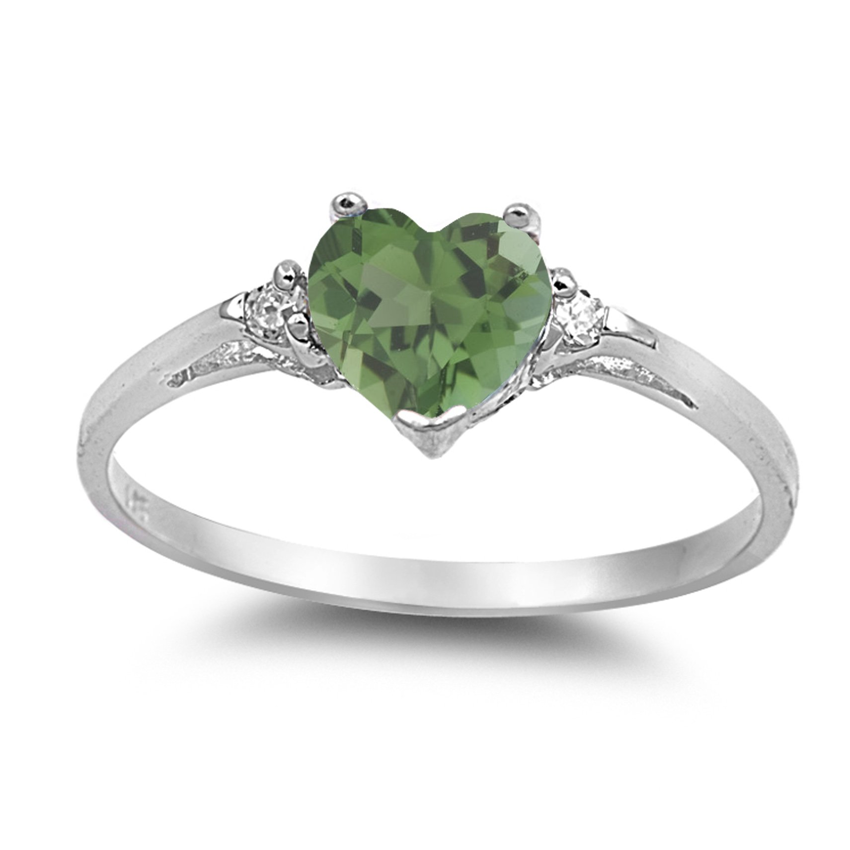 925 Sterling Silver Faceted Natural Genuine Green Emerald Heart Promise Ring Size 3