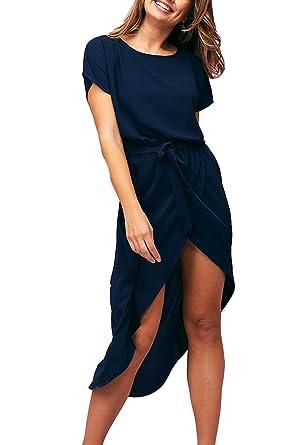 ca5674b7c3 Eliacher Women's Summer Short Sleeve Chiffon Maxi Dress Sexy Front Split  Beach Party Dresses with Belt