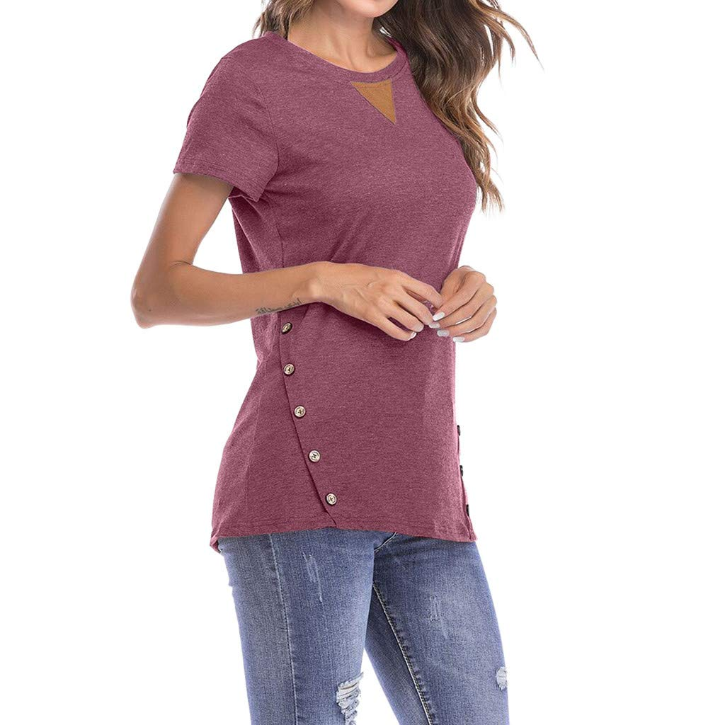 16adc7313c1c TnaIolral Women s T-Shirt Tops Round Neck Short Sleeve Button Blouse at  Amazon Women s Clothing store