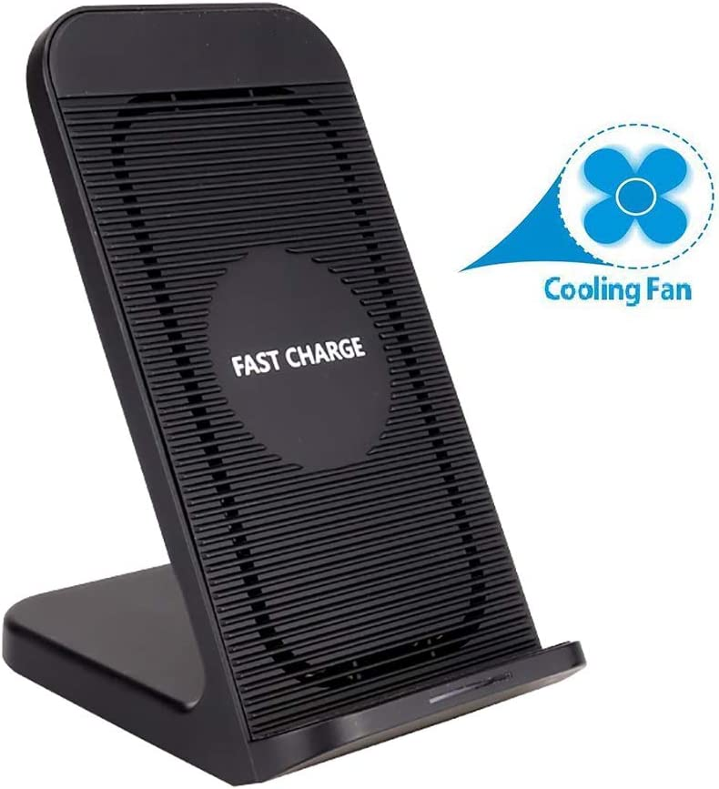 QKa 10W Qi Wireless Charging Stand with Built-in Cooling Fan, Wireless Charger Station Compatible with All Qi Enabled Cellphones (No AC Adapter)