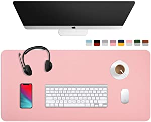 """WAYBER Dual Sided Desk Pad (35.4 x 17""""), Waterproof Leather Office Desk Mat, PU Mouse Pad, Desk Cover Protector, Desk Writing Mat for Office/Home/Work/Cubicle (Pink/Silver)"""