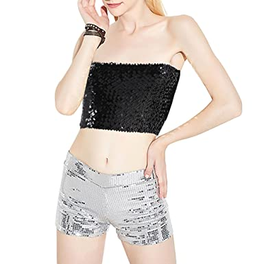 e6d7ad824a7af3 Novias Boutique Women Sexy Sequin Stretchy Off Shoulder Tube Top Wrap Chest  Vest Crop Top for Party Club Rave(Black)  Amazon.co.uk  Clothing
