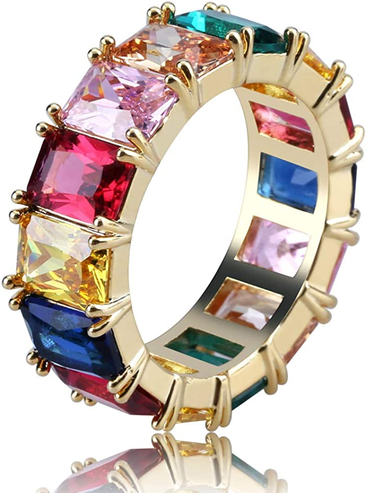 JINAO Iced Out Square Baguette cz Engagement Ring for Women Colorful Cubic Zirconia Mens Bling Ring