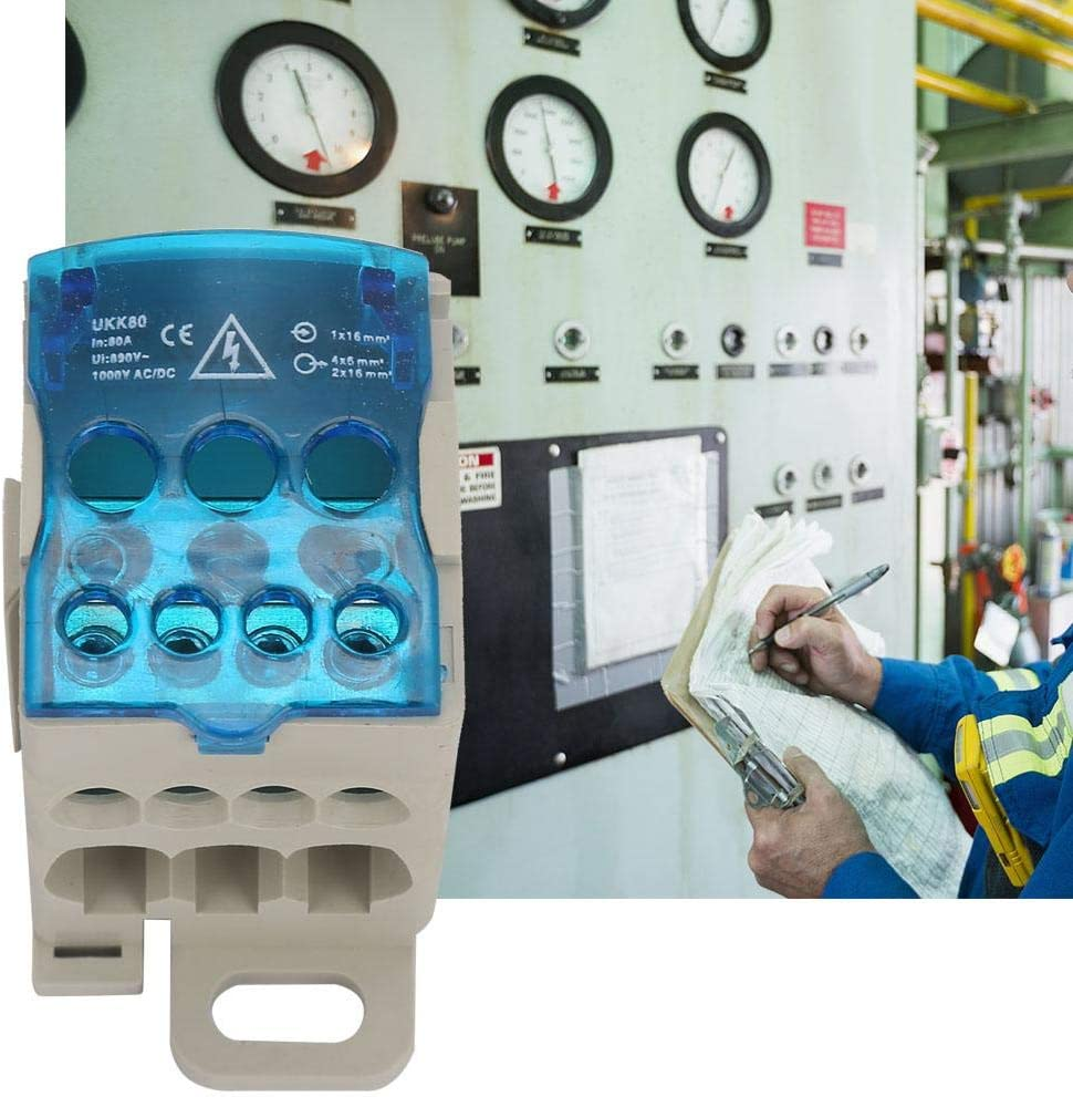 Conector de Cable El/éctrico de riel DIN Caja de Conexiones de Alimentaci/ón Universal Caja de Distribuci/ón de Bloque UKK-80A