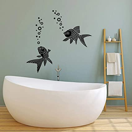 Sxh28185171 Aquarium Fisch Wandaufkleber Wohnzimmer Ozean Wasser Schaum Vinyl Wandtattoo Badezimmer Dekoration Hauptdekoration42x43cm Amazon De Kuche Haushalt