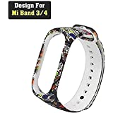 CellFAther Printed Silicone Wristband for Mi Band 4 / Mi Band 3 Colorful Skull (Tracker Not Included)
